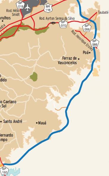 Mapa Rodoanel Trecho Leste