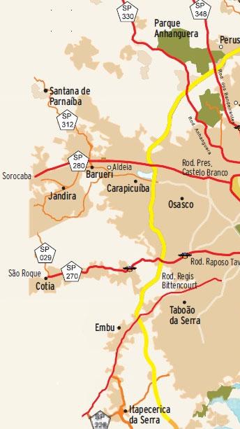 Mapa Rodoanel Trecho Oeste
